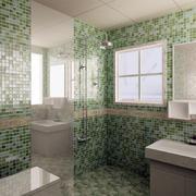 卫生间绿色瓷砖展示
