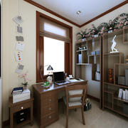 书房实木书柜书桌图片