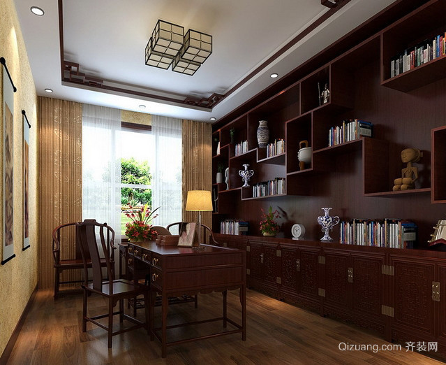 新中式书房实木书柜装修图