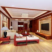 2016新中式风格三居室客厅装修效果图