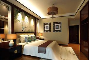 新中式卧室背景装修效果图