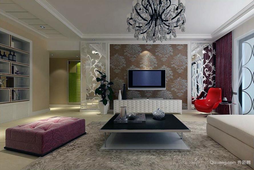 60平米欧式小户型家装电视背景墙装修效果图