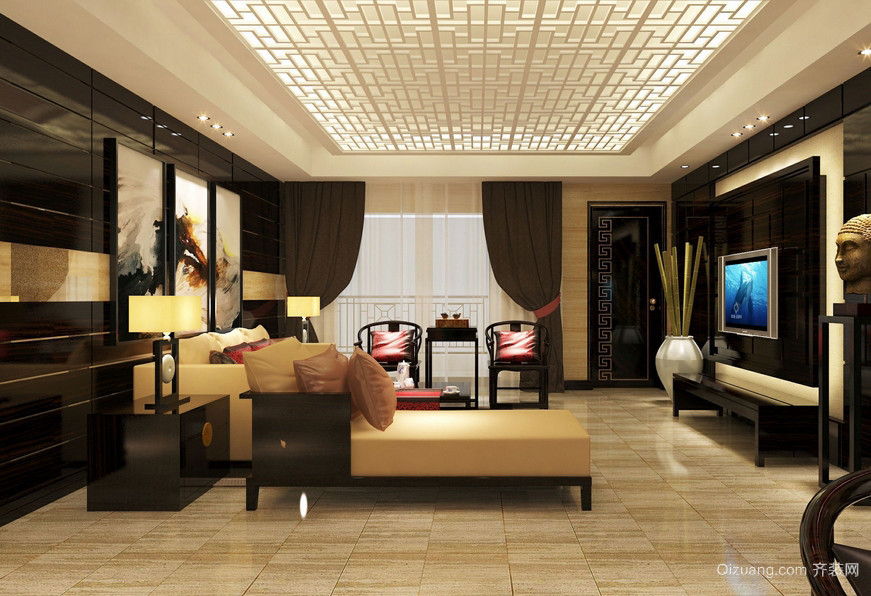高级小区186平米家居新中式客厅效果图