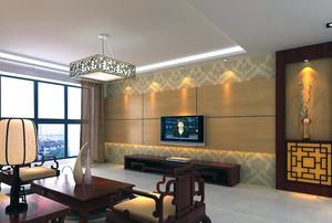 2016大户型经典中式客厅背景墙装修效果图