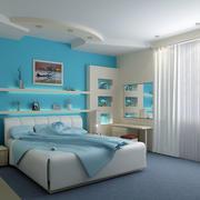 非同凡响:水蓝色简约室内卧室装修图
