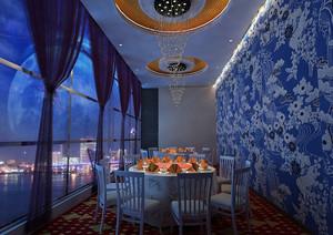 高端大型火锅店包间背景墙装修设计图