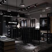 2016深色系现代服装店装修设计效果图