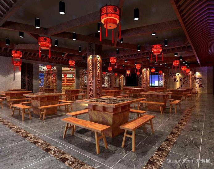 红红火火的大型中式火锅店装修设计图