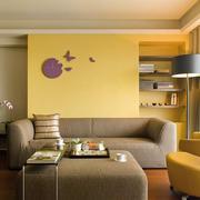 120平米客厅黄色背景墙
