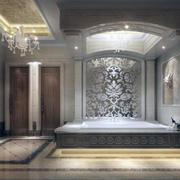 大户型简欧风格浴室背景墙装修效果图鉴赏