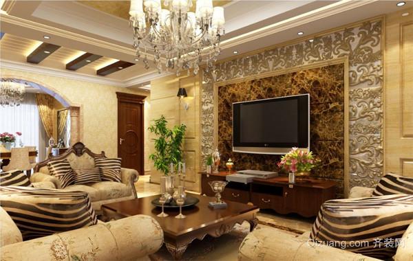 自建别墅欧式风格客厅电视背景墙装修效果图