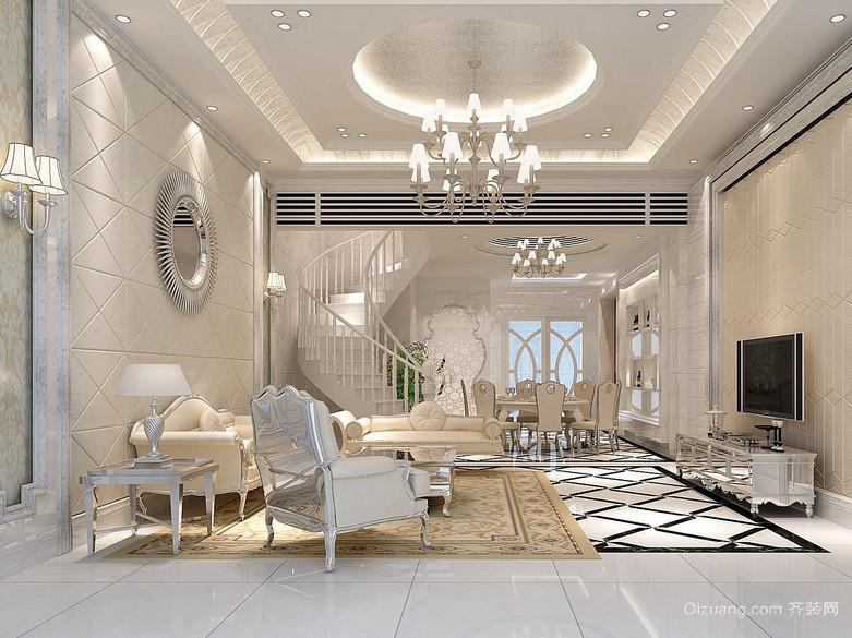 大户型米色跃层住宅客厅简欧家具效果图