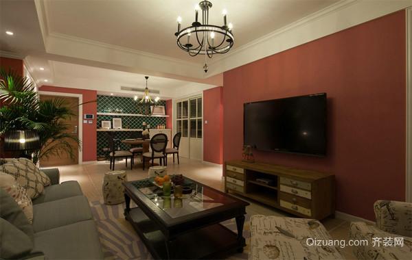 120平米美式复古混搭风格房子装修效果图