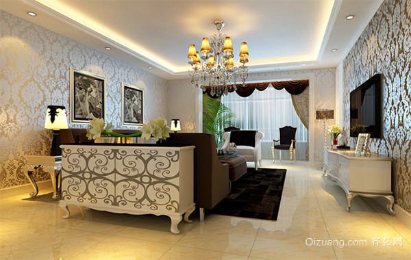 90平米大户型精美欧式客厅照片墙装修效果图