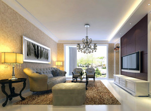 大户型现代欧式家庭客厅电视背景墙装修效果图