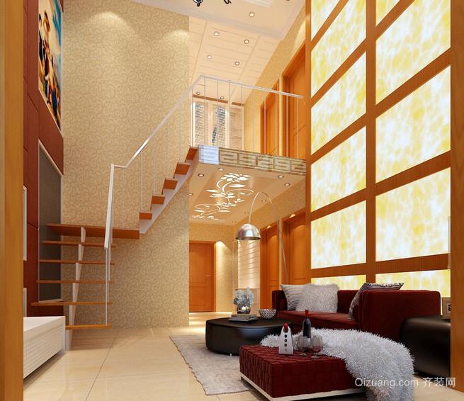 二层复式楼精致客厅楼梯装潢设计效果图