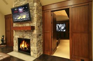 美式风格别墅家庭影院隐形门装修效果图