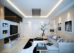 两室一厅都市家装客厅样板间展示