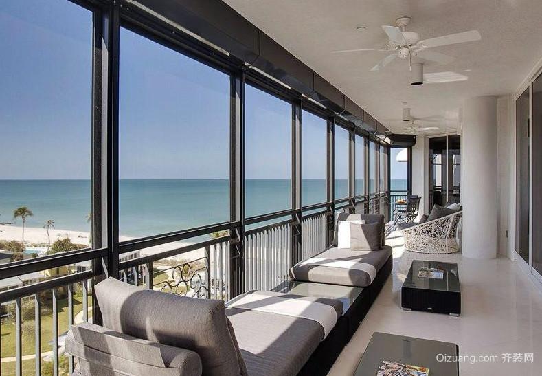 简约大户型家居室内阳台装潢设计效果图
