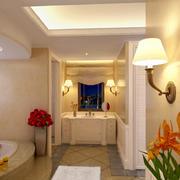 大户型简欧风格家装卫生间壁灯样板间