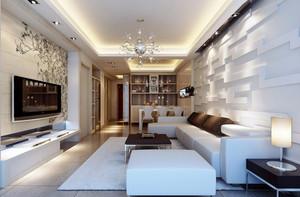 带有艺术感的现代两居室家装客厅样板间