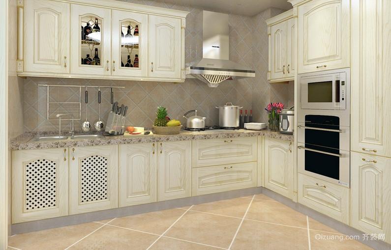 自然L字型厨房室内装潢设计效果图
