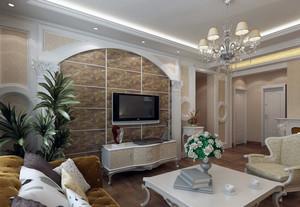 小户型简欧风格家装客厅电视墙装修效果图