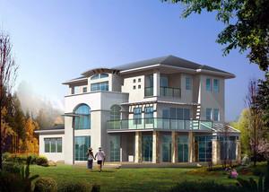2016大户型欧式风格小洋楼外观设计效果图