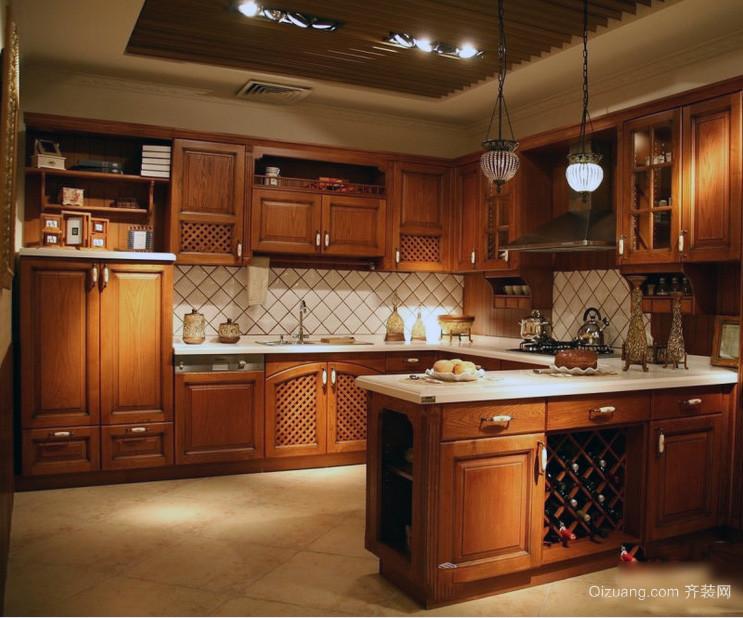 90平米大户型美式风格家庭厨房装修效果图