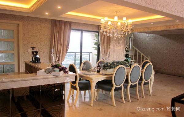 大户型轻快欧式现代家装餐厅背景墙装修效果图