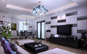 90平米两居室现代电视背景墙隐形门效果图