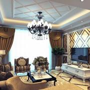 2016大户型现代欧式客厅影视墙装修效果图