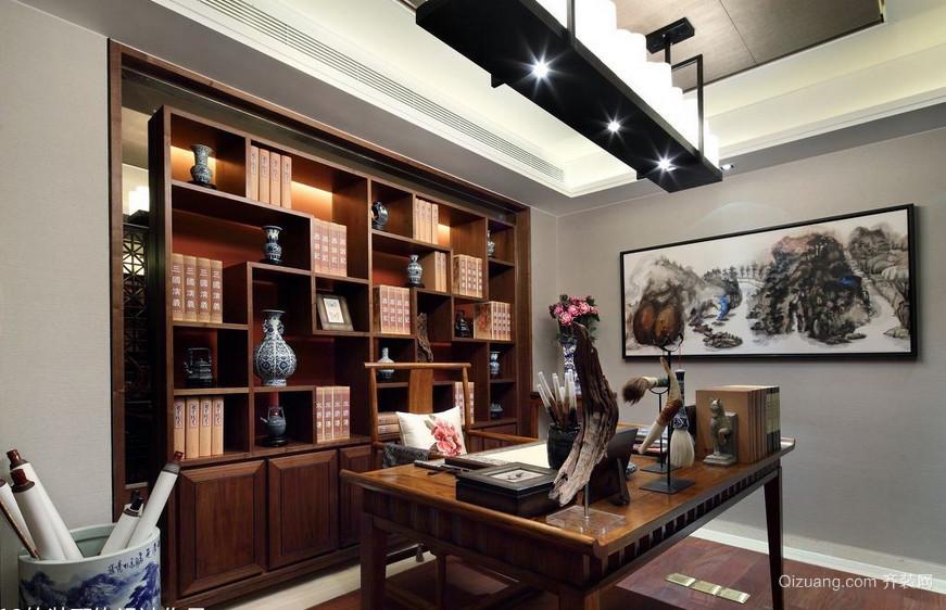 高贵小户型中式书房书柜装修效果图