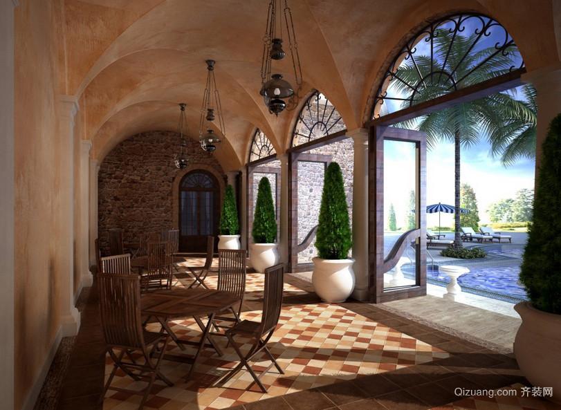奢华欧式古堡阳台仿古砖地板效果图