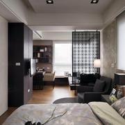 小户型简约都市卧室玻璃隔断墙设计