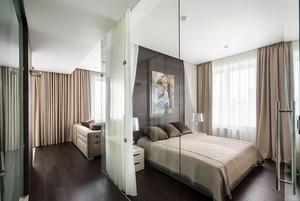 现代单身公寓卧室玻璃隔断墙设计图
