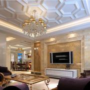 2016欧式奢华大客厅电视背景墙效果图
