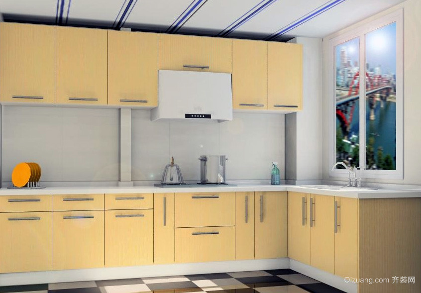 经典的欧式大户型厨房厨柜装修效果图