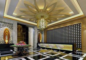 豪华都市酒店大堂吊顶装修设计效果图