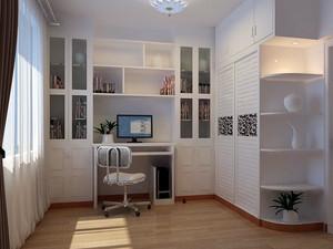 2016现代书房整体书桌书柜装修效果图