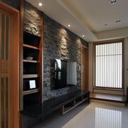 轻复古大户型客厅电视墙仿古砖效果图