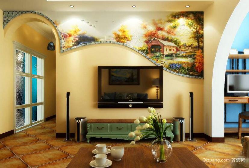 梦幻王国:地中海风小客厅电视背景墙图