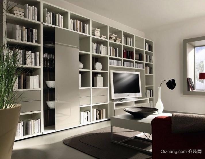 小型单身公寓现代组合书柜装修效果图