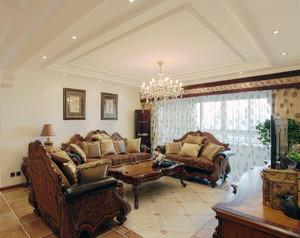 精致的现代美式风格别墅客厅装修效果图