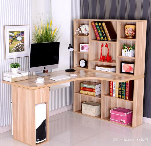 学生专用:简约实木整体书桌书柜效果图