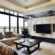 浅色调122平米家居客厅电视背景墙效果图