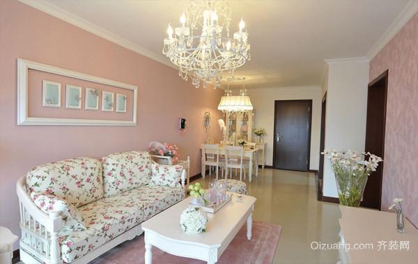66平米粉嫩田园公主风单身公寓装修图片