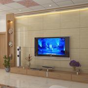 原木色简约客厅瓷砖电视背景墙效果图