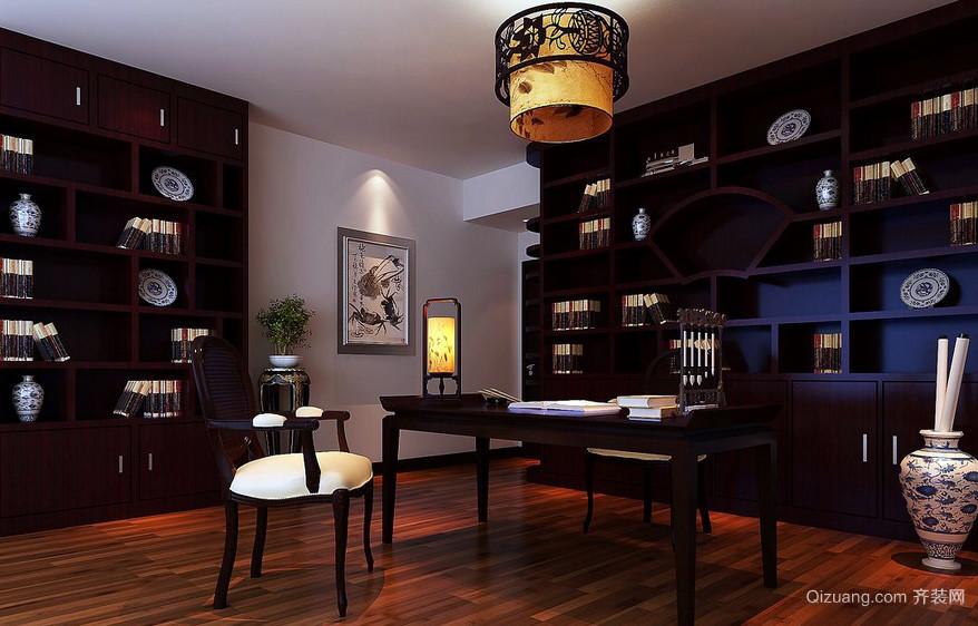 书香之家:中式三居室家居书房书柜装修图