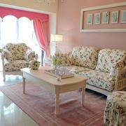 田园客厅小碎花沙发